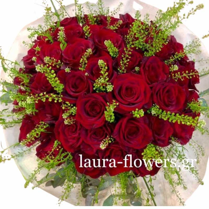 Μπουκέτο με 60 τριαντάφυλλα